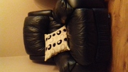 3 piece black leather suite